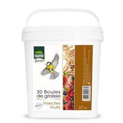 Boules graisse insectes+fruits hamiform seau30x90g