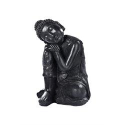 Bouddha penseur cire noir 33x33-H58 pierre cire noir