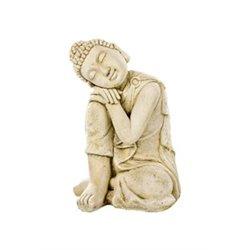 Bouddha penseur ton vieilli 33x33-H58 pierre vieilli