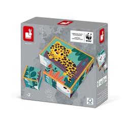 9 cubes en carton animaux